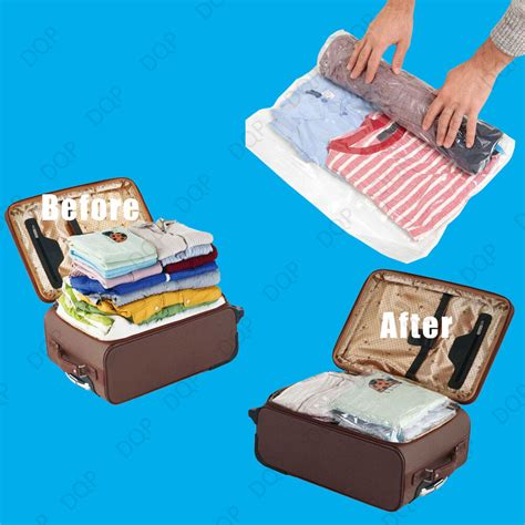 vacuum travel bag 10x 50x70cm roll up space saving travel vacuum seal bag