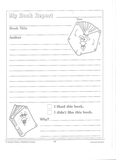 book report template 2nd grade 2nd grade book report template