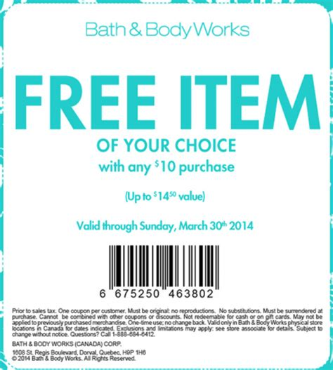 printable pers coupons canada 2014 bath body works canada coupons free item of your choice