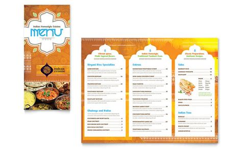 Menu Brochure Template Free indian restaurant menus flyers and postcards 171 graphic