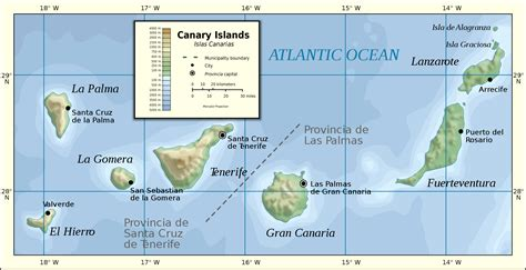 canary islands map canary islands physical map 2007 size