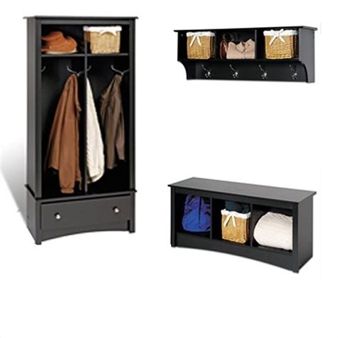 hallway storage bench with coat rack prepac black sonoma entryway package w cubby bench coat