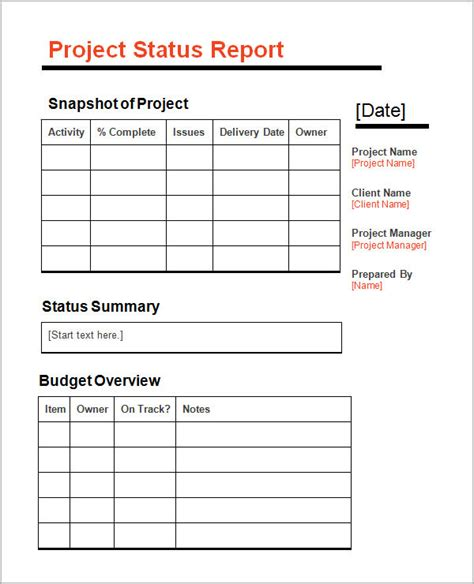 project definition report template 11 sle status reports sle templates
