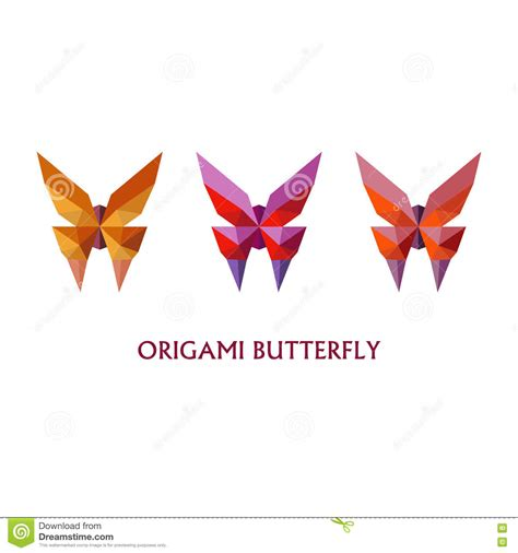 Flat Origami Butterfly - illustration of flat design with origami butterfly on