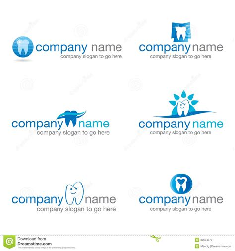 House Plan Maker set of six dental logos vector stock photography image