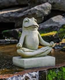 meditating zen frog garden statue cast garden