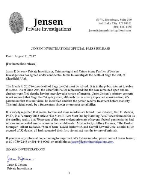 Release Investigation by Investigator To Investigate The Cat