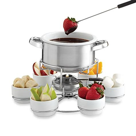fondue pot bed bath and beyond my perfect kitchen stainless steel lazy susan fondue set