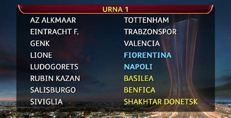 teste di serie europa league europa league sorteggio sedicesimi juve napoli lazio e