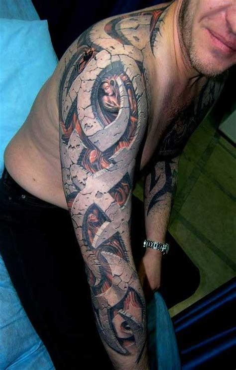 tattoo 3d stone sleeve tribal design with a stonework effect tattoos