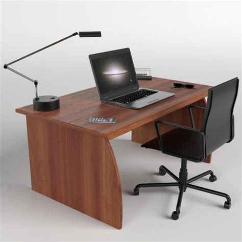 Laptop Office Desk Office Desk With Chair And Laptop 3d Model Cgstudio
