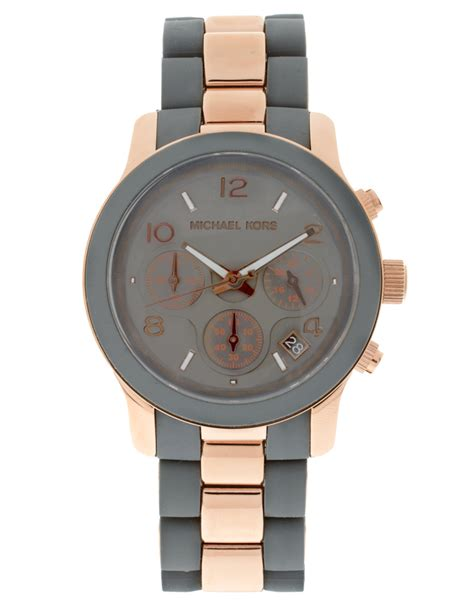 Fossil Fs088 Grey Rosegold michael kors two tone grey and gold chronograph in multicolor multi lyst