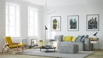 Superior Living Room Modern Decoration #6: Scandinavian-living-room-furniture-ideas-gray-sofa-low-coffee-table-yellow-side-chair.jpg