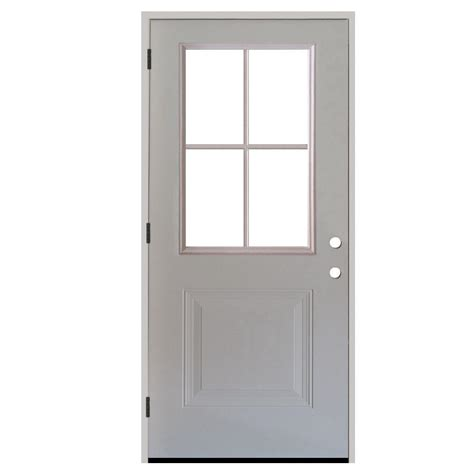Exterior Door Panel Steves Sons 36 In X 80 In Premium 4 Lite 1 Panel Primed White Steel Prehung Front Door S21h