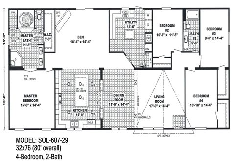 Double Wide Floor Plans 4 Bedroom | 4 bedroom double wide trailers floor plans mobile homes