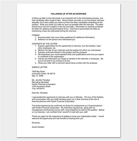 professional up letter follow up letter letter after sle exle