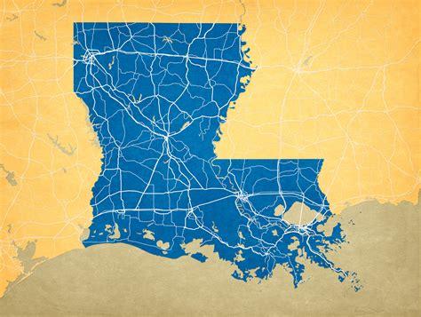 louisiana map print louisiana map city prints