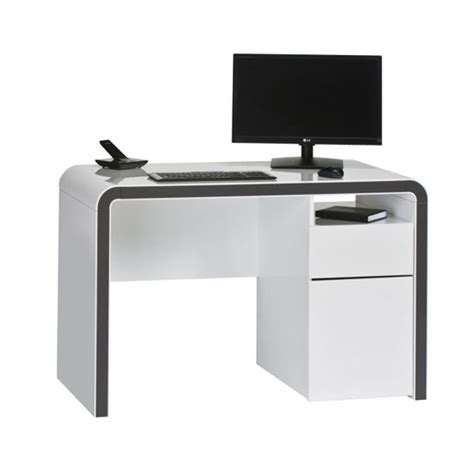 modern computer table buzzdesk120 computer desk in white gloss and metal dark