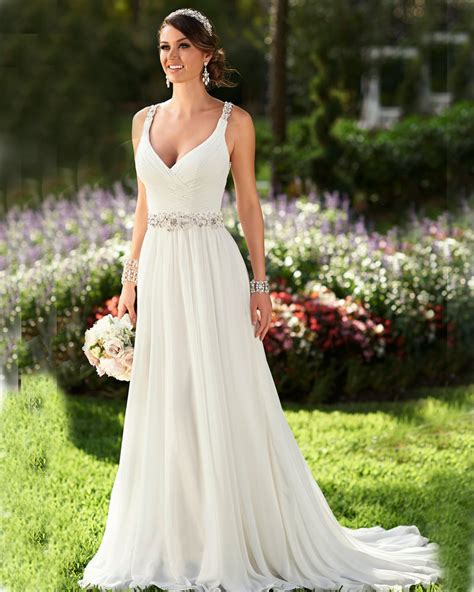 Wedding Dresses Summer by Summer Wedding Dress Neck Ivory Chiffon