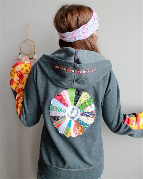 Grateful Dead Patchwork Hoodie - your grateful dead upcycled patchwork vintage
