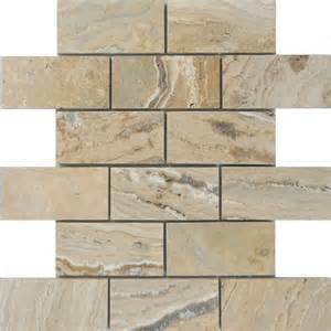 shop allen roth a r beige brick mosaic travertine floor