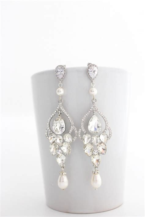 Long Bridal Chandelier Earrings Chandelier Wedding Chandelier Pearl Earrings For Wedding