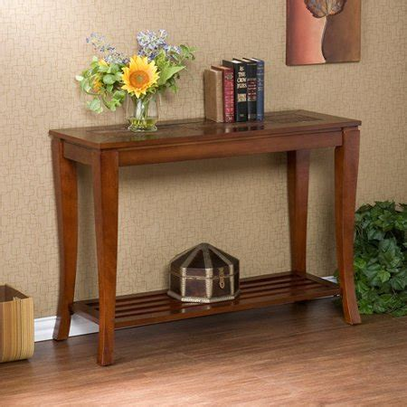 household essentials faux slate sofa table cambria brown cherry slate sofa table walmart com