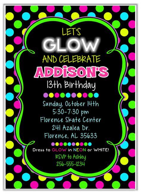 neon glow birthday party invitations kids birthday