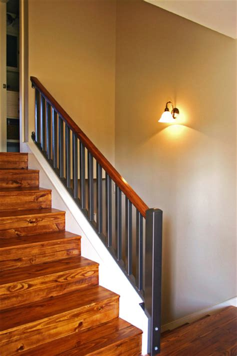 Iron Wall Sconces Split Level Stairs After