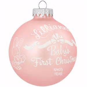 personalized baby s first christmas pink glass ornament