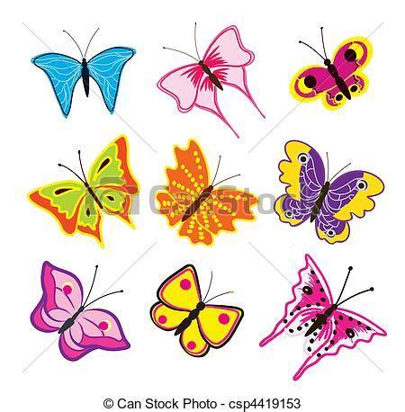 imagenes mariposas en caricatura vectores de mariposas conjunto caricatura conjunto de