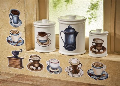 coffee themed kitchen canisters coffee cup theme latte mocha kitchen removable wall decals
