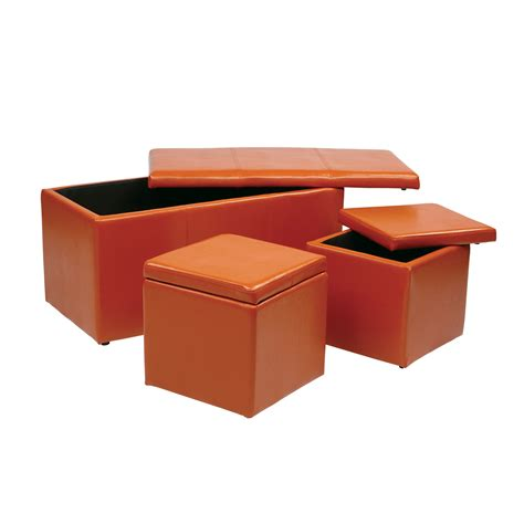 Orange Storage Ottoman Orange Storage Ottoman Stylish And Functional Storage Idea Homesfeed
