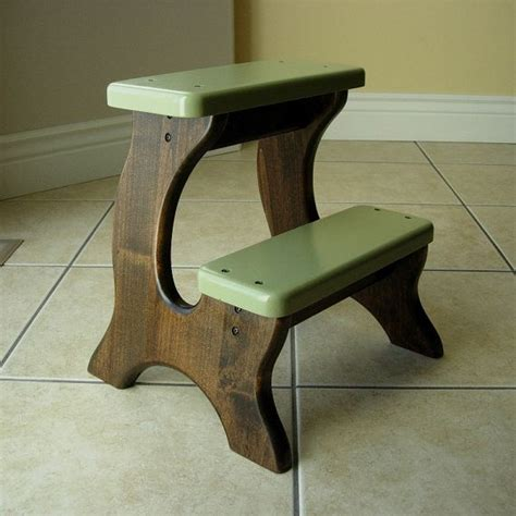 step stool wooden wood alder stained green olive