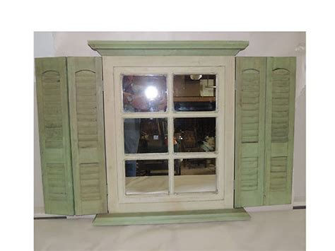home interior mirror shutter mirror window sage green cream homco home interior