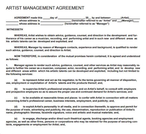 9 Artist Contract Templates Download For Free Sle Templates Artist Management Agreement Template