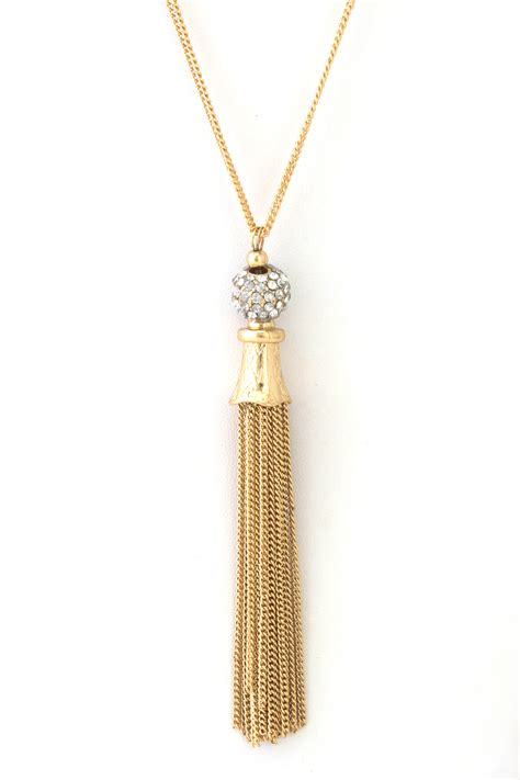 Tassel Necklace pave tassel necklace necklaces