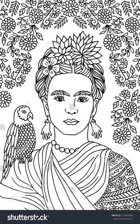 frida kahlo colouring books 379133994x hand drawn portrait of frida kahlo with floral background flowers in her hair and a parrot on