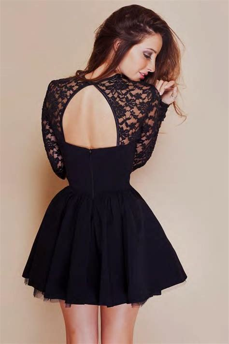 black homecoming dresses with sleeves black long sleeve lace short prom dress naf dresses