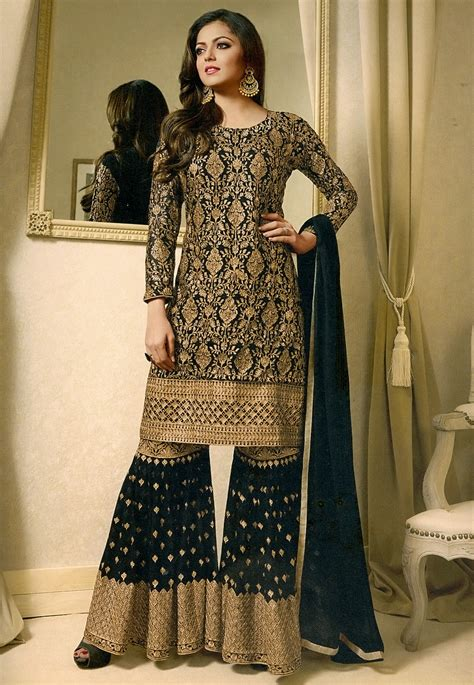 embroidered georgette pakistani suit  black kch