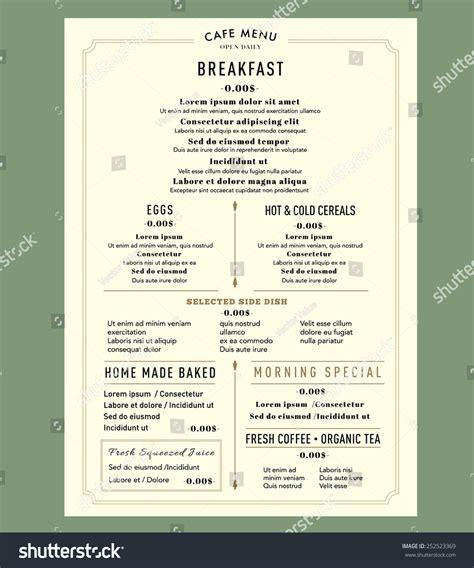 breakfast lunch dinner menu template menu design breakfast restaurant cafe graphic stock vector 252523369
