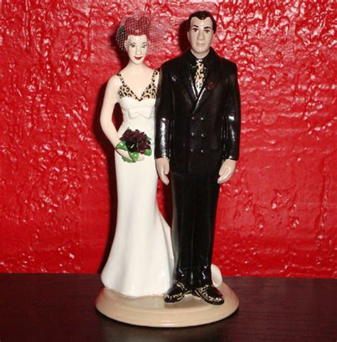 tattooed couple cake toppers custom tattooed wedding cake topper with leopard details
