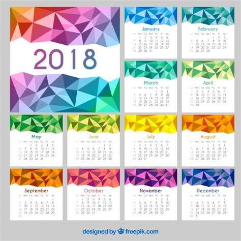Vector Calendar 2018 2018 Calendar With Colored Geometric Shapes Vector Free