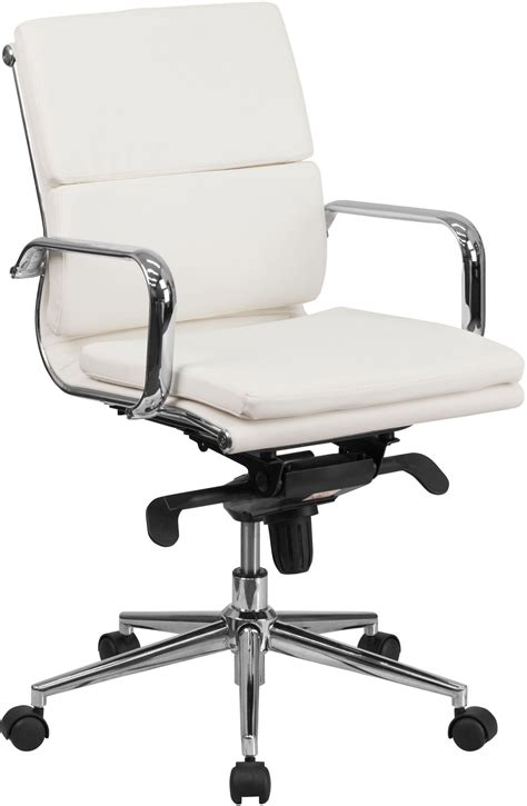 White Executive Swivel Office Chair With Synchro Tilt Swivel Chair Mechanism