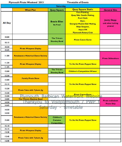 timetable plymouth plymouth barbican pirate weekend 2013 timetable
