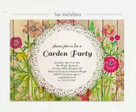 Garden Attire Wording Shabby Floral Garden Invitation Watercolor