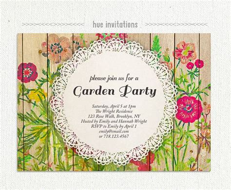 garden invitation template shabby floral garden invitation watercolor