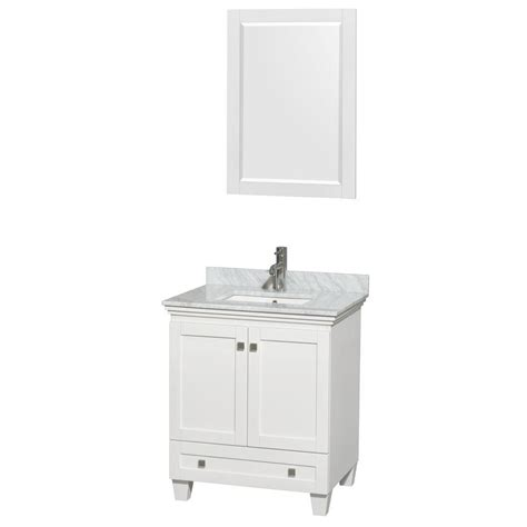 Home Depot Bathroom Vanities 30 Inch Wyndham Collection Acclaim 30 Inch W Vanity In White With Top In White Carrara With Basin And