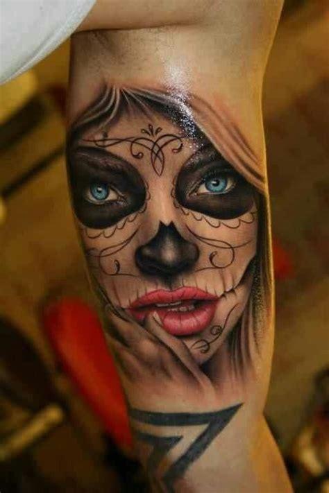 tattoo girl skull sugar skull facw tattoo red lips kisses sugar skull