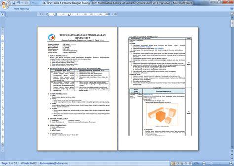 contoh rpp terbaru sd contoh rpp matematika kelas 5 sd semester 2 kurikulum 2013